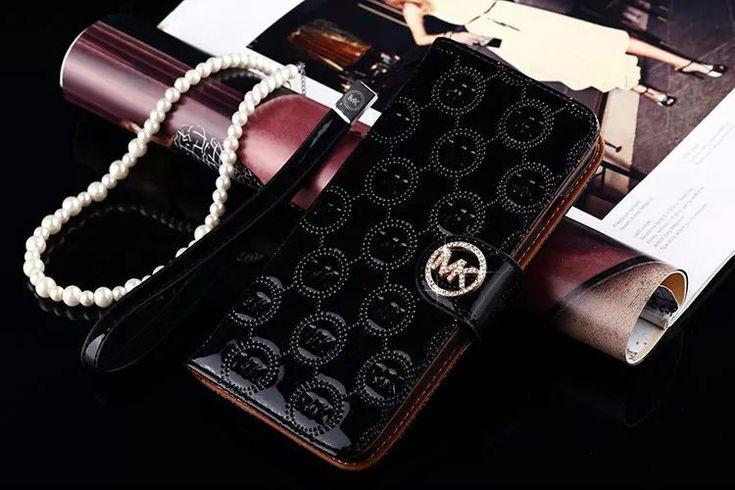 Coque Étui Iphone 7 plus cas michael kors téléphone cellulaire portefeuille noir