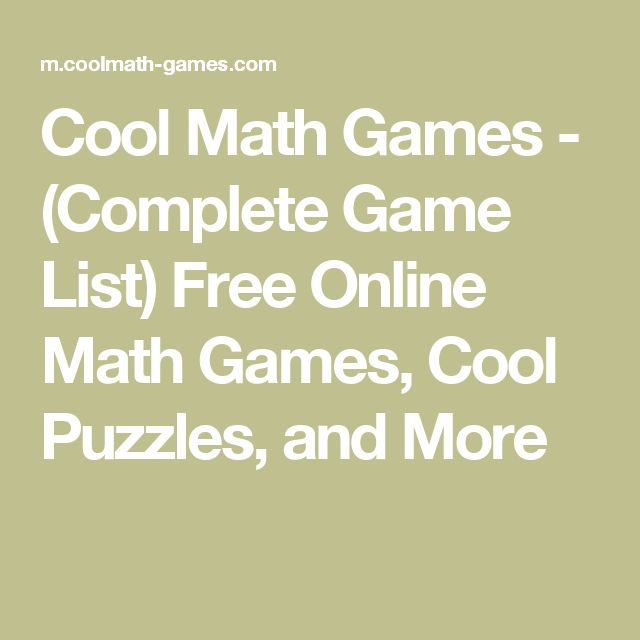Cool Math Games - (Complete Game List) Free Online Math Games, Cool Puzzles, and More