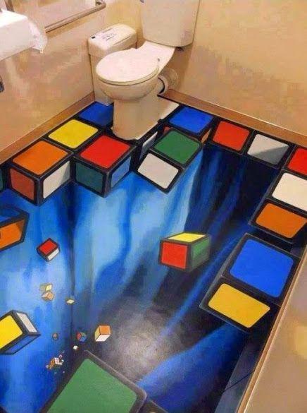 """Khayalan Tingkat Dewa - """"3D Bathroom Floor Design"""" Bahkan di kamar mandi-pun bisa tercipta sebuah karya yang mengagumkan.. Lantai kamar mandi didesain layaknya kubus rubik 3D yang berjatuhan ke bawah.. Khayalan ini membuat Anda semakin kreatif dan lebih hebat dari biasanya.. Sumber Foto : +Creative Ideas"""