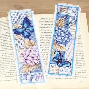 Hydrangea and Butterfly Bookmarks - counted cross-stitch :: Love the florals and the stamp design on these! =)