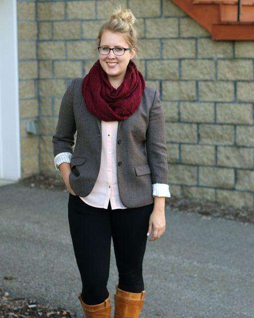 Franish | Grey blazer, black pants, wine scarf