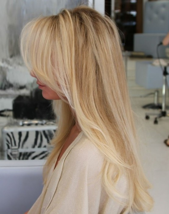 Beautiful long swoop bangs.