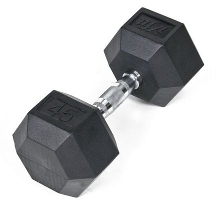 Rubber Coated Hex Dumbbell 45 lb. Single: Rubber Coated Hex Dumbbells are the perfect solution for sculpting a firm and… #onlinesports