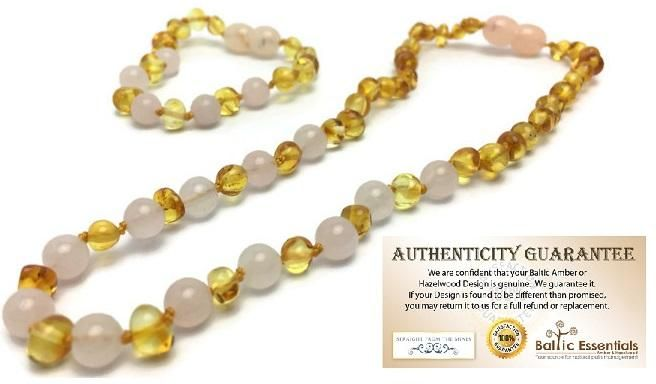 Baltic Amber Teething Necklace Lemon Pink Rose Quartz Separation