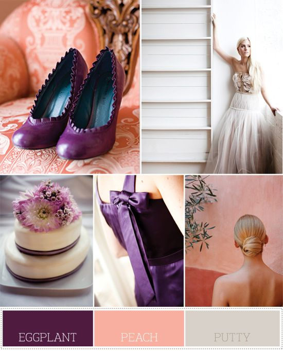 Eggplant Peach Putty Wedding Color Palettes