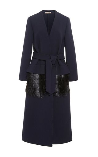 Wool Crépe Coat With Fur Pockets by MARNI Now Available on Moda Operandi