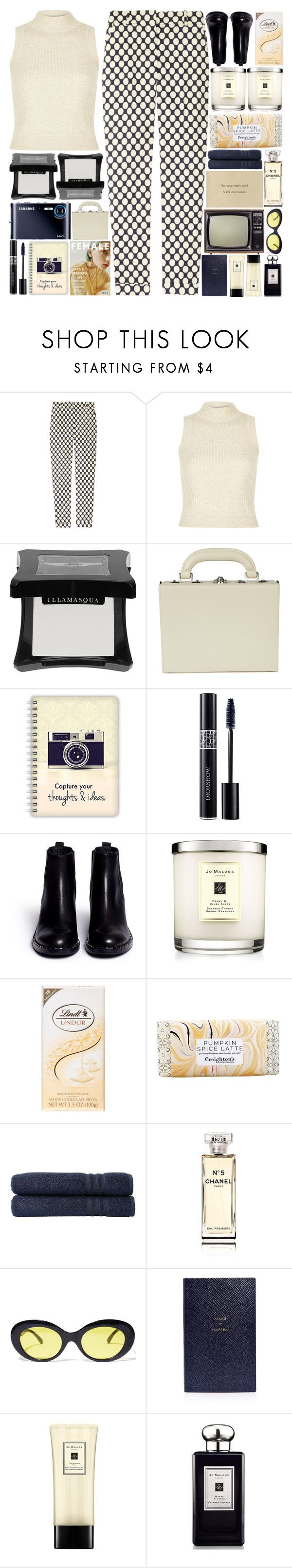 """6328"" by tiffanyelinor ❤ liked on Polyvore featuring J.Crew, River Island, Illamasqua, Bertoni, Christian Dior, Ash, Jo Malone, Lindt, Linum Home Textiles and Chanel"