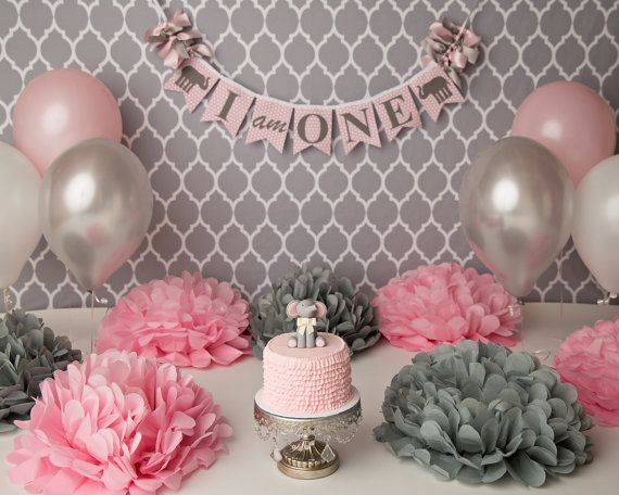 ELEPHANT BIRTHDAY BANNER / Pink Elephant 1st Birthday / 1st