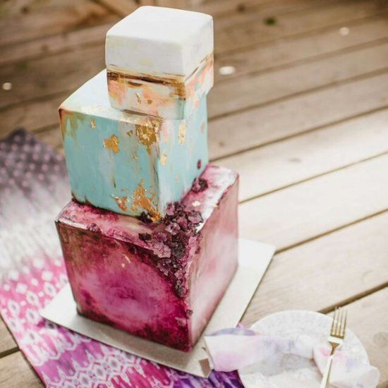 Going quirky with an amazing gold leaf & amethyst wedding cake & earthy wedding style ideas {Image Credit - Ellie Gillard Photography} VERY COOL & QUITE UNIQUE!! - WORKS WELL!!