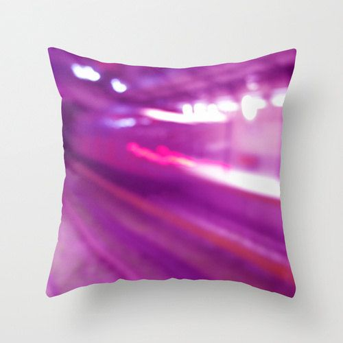 "Purple Pillow Cover ""Moving Train"", Pink Pillow Case, Urban Photography, Fuschia Pillow, Lavender Pillow - pinned by pin4etsy.com"