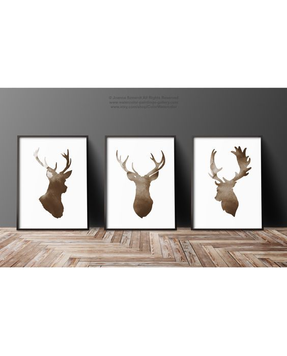 Deer Head Silhouette set of 3, Brown Antlers Print, Stag Illustration Living Room Rustic Wall Art, Nordic Scandi Poster, Tuscany Decor by ColorWatercolor on Etsy https://www.etsy.com/listing/483260108/deer-head-silhouette-set-of-3-brown