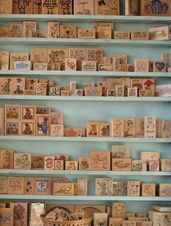 rubber stamps.