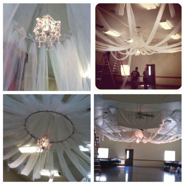 Diy ceiling decor all you need is tulle pvc in hula hoop for Ceiling decoration items