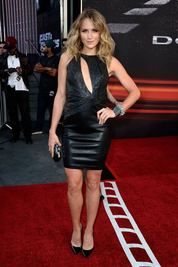 Shantel VanSanten: Black Leather Dress Featured a Cutout on the Bust