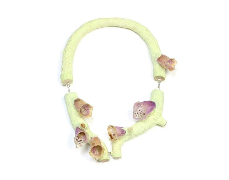 Märta Mattsson Necklace: Untitled, 2014 Crushed sulphur, Digitalis flowers, resin, wood, clay, silver