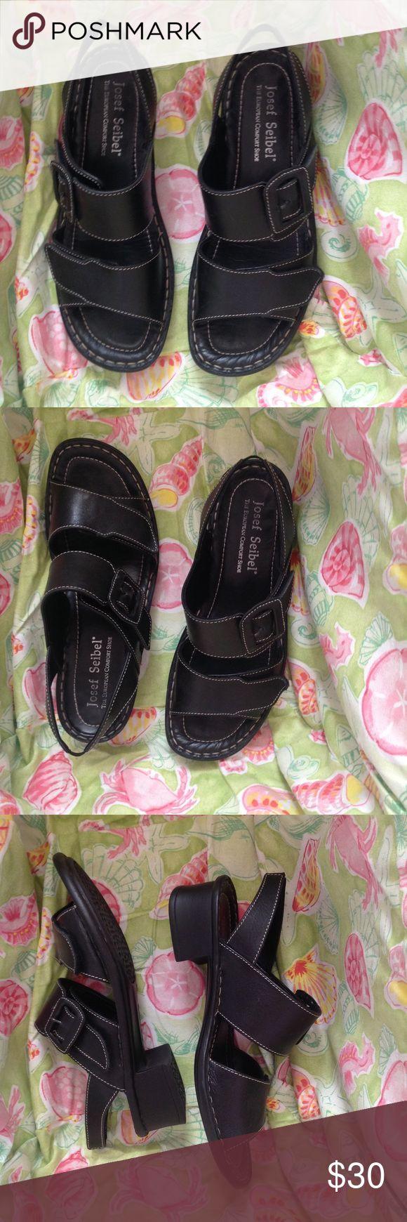 Josef Seibel sandals, size US 10/Euro 40, EUC Josef Seibel sandals, black, size US 10/Euro 40. Easy Velcro closure as shown in photo 6. Excellent condition. Josef Seibel Shoes Sandals