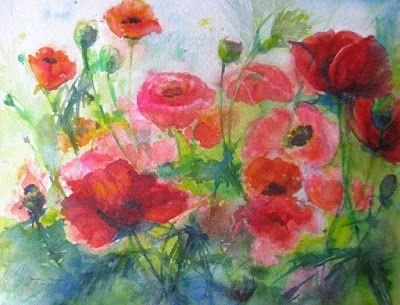 "Watercolor Artists International: ""Dance of the Poppies"" Original Poppy garden watercolor by Janice Trane Jones"