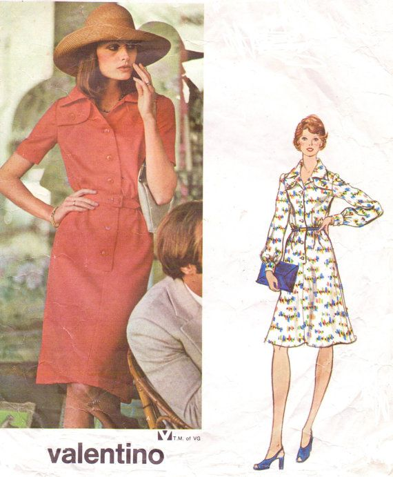 1970s Valentino Vogue Couturier Design Sewing Pattern 1052  Womens Shirtdress Size 12 Bust 34 Vintage Sewing Patterns on Etsy, $52.35 AUD
