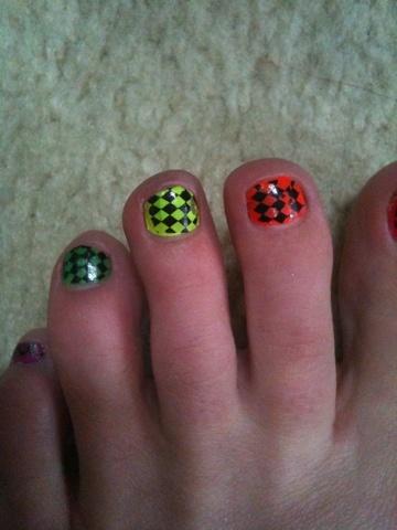 Neon Toe Stamped Toe Nail Art  #neon #toe nails #konad # stamping #nail art