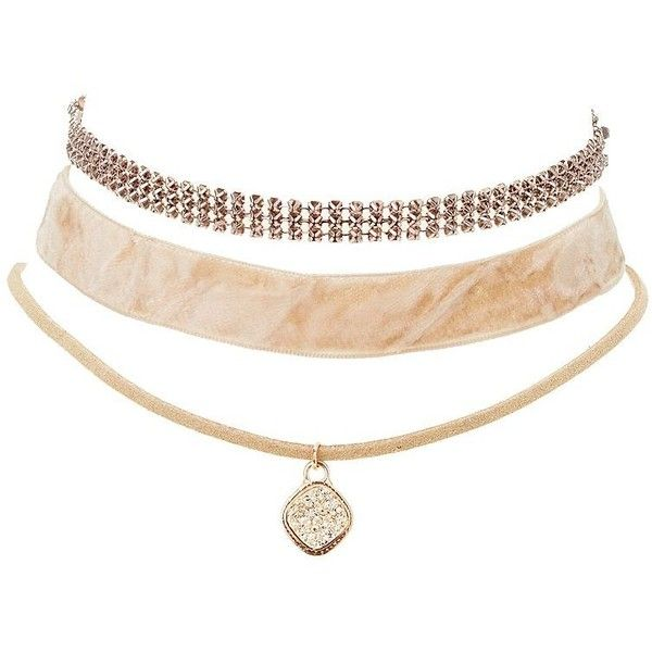 Charlotte Russe Velvet, Charm & Chainmail Choker Necklaces - 3 Pack (£3.07) ❤ liked on Polyvore featuring jewelry, necklaces, blush, charlotte russe, chain mail jewelry, charlotte russe necklaces, charm jewelry and velvet jewelry