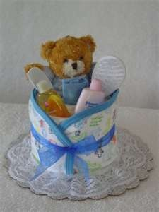 small one layer diaper cake/cupcake