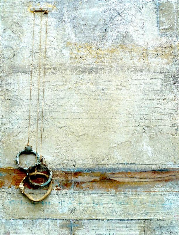 "FLOATING RINGS by Brenda Holzke 28.5""x20.5"" plaster,acrylic, oil paint stick,paper,textile,hemp, fired ceramic ,rusted metal on found wood board #art #mixed_media"