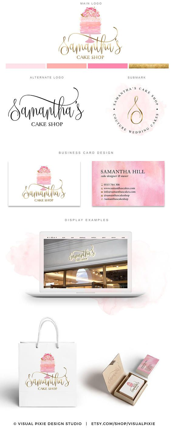PREMIUM Branding Package - Gold Watercolor Cake Logo - Floral Bakery Logo Cakery - Business Card Design - Cupcake Logo Design Food Blog Logo
