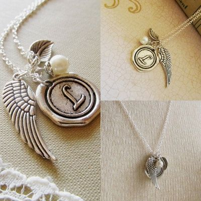 Personalized Angel Necklace Wing Charm Necklace by 4Everinstyle