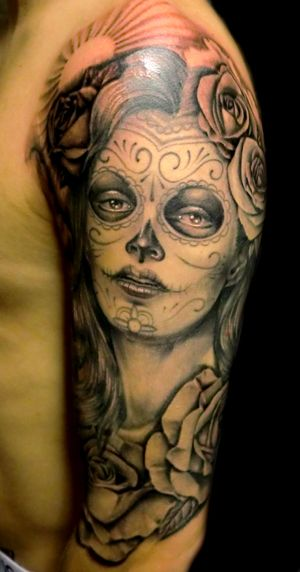 Day Of the Dead tattoo-can't decide if I like color or black and white!! I would definitely have to have my artist and his wife give me suggestions!
