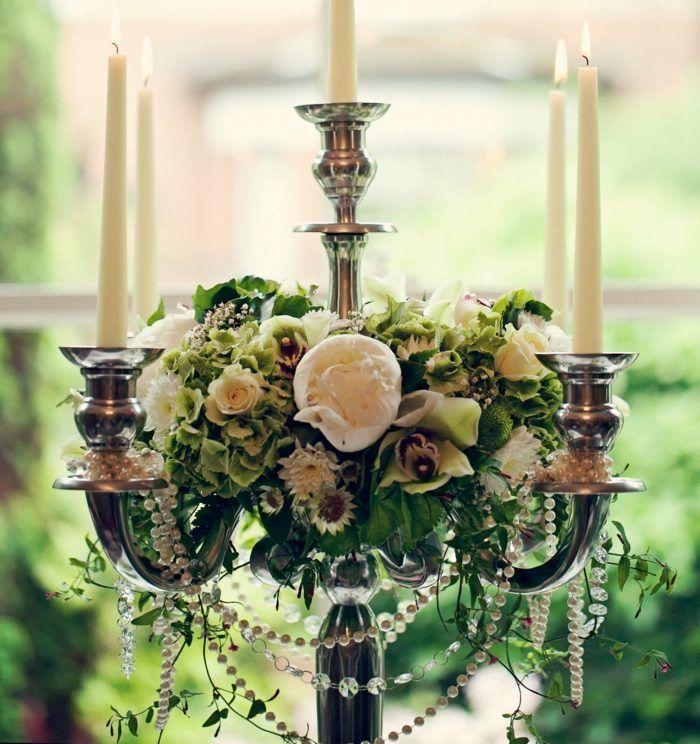 Hochzeit Beleuchtung Vintage Kronleuchter Blumen Perlen Deko