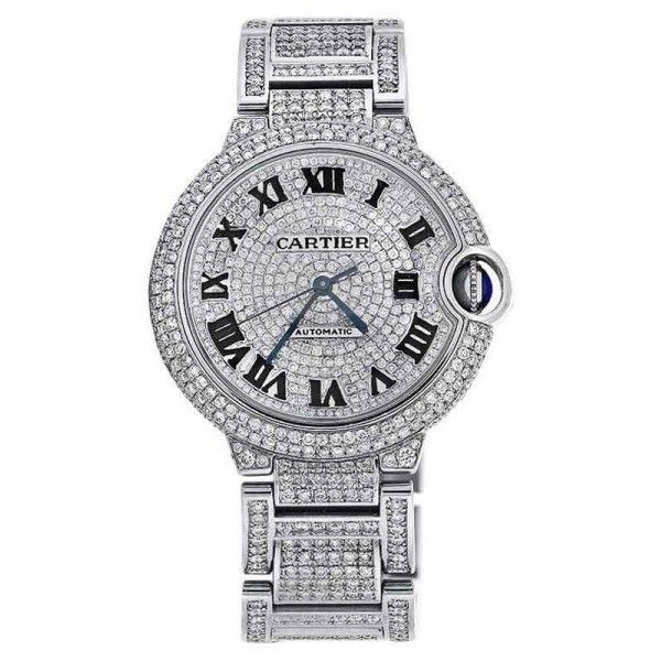 Pre-owned Cartier W6920046 Ballon Bleu Automatic Mid-Size Diamond Pave... ($14,999) ❤ liked on Polyvore featuring jewelry, watches, cartier watches, preowned watches, dial watches, cartier jewelry and pre owned jewelry