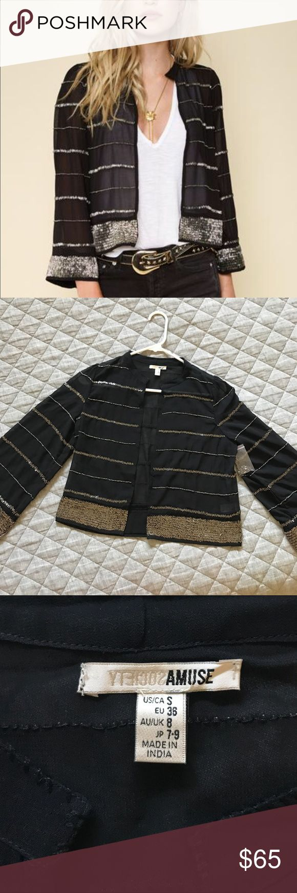 Amuse black amity beaded jacket Super cute beaded jacket by AMUSE society. Never worn and brand new with tags! amuse society Sweaters Shrugs & Ponchos