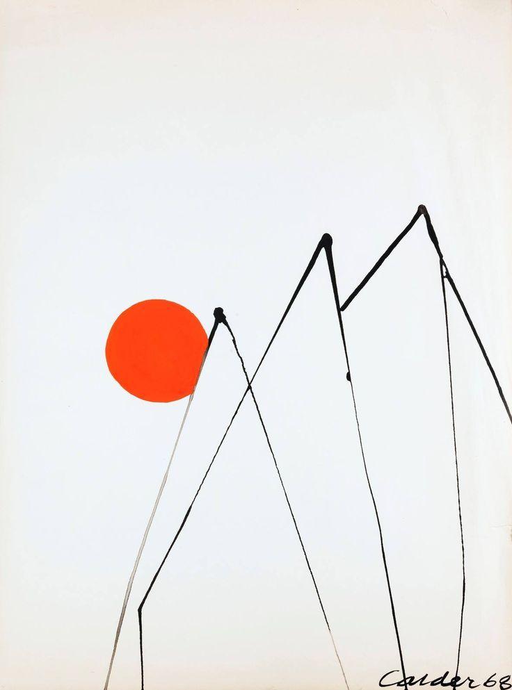 "amare-habeo: "" Alexander Calder (American,1898 - 1976) Trois pics, 1968, gouache, 78 cm """