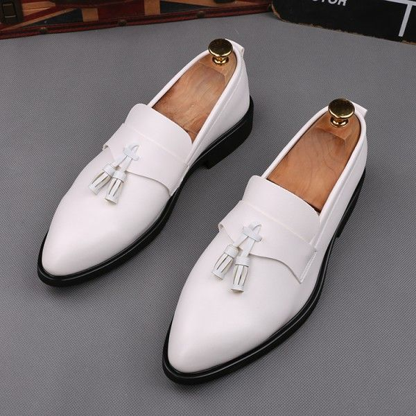 White Pointed Head Tassels Dapper Man Oxfords Loafers Dress Shoes
