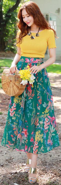 StyleOnme_Colorful Floral Print Chiffon Long Skirt #floral #chiffon #long #skirt #koreanfashion #kstyle #kfashion #seoul #summertrend #dailylook #elegant #feminine