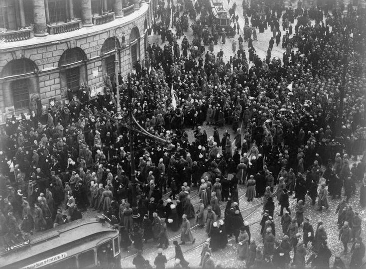 The overthrow of the Tsar during the Russian revolution, March 1917.