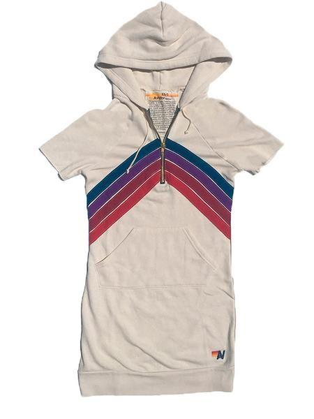 NOVA QUARTER ZIP SHORT SLEEVE HOODIE DRESS - VINTAGE WHITE // PURPLE