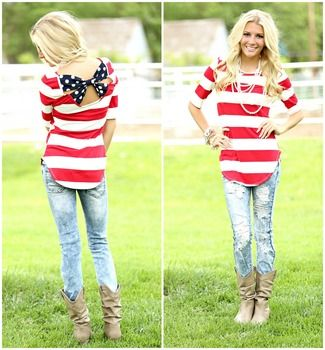 Spotted Bow Back 4th Top - Fourth 4th of july top Modern