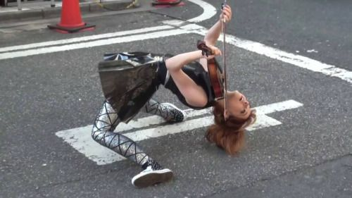 I'm so proud to say that I've seen  this lovely violin chick in real-life and in this same outfit, doing this same pose!