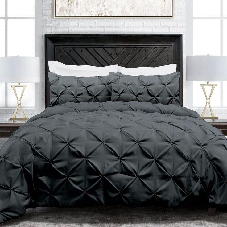 Full Queen Size 3Pc Bedding Comforter Set Gray Bedroom Tufted Pattern Decoration #FullQueenSize