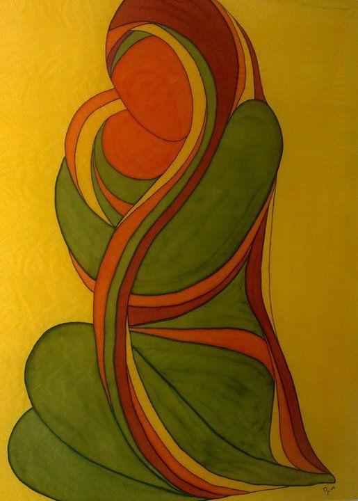 Cuadro pintado en seda