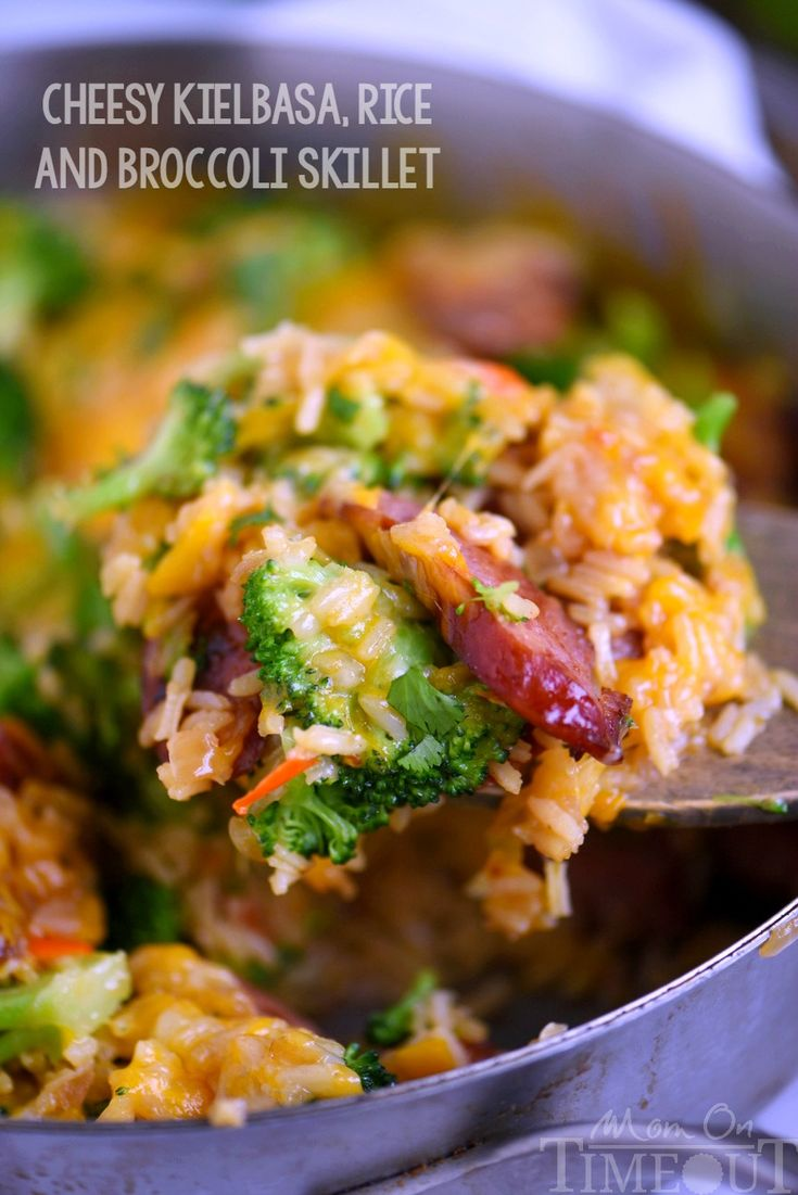 Cheesy Kielbasa, Rice and Broccoli Skillet - your new favorite dinner! Extra cheesy, and bursting with flavor, it's a recipe you'll make again and again!