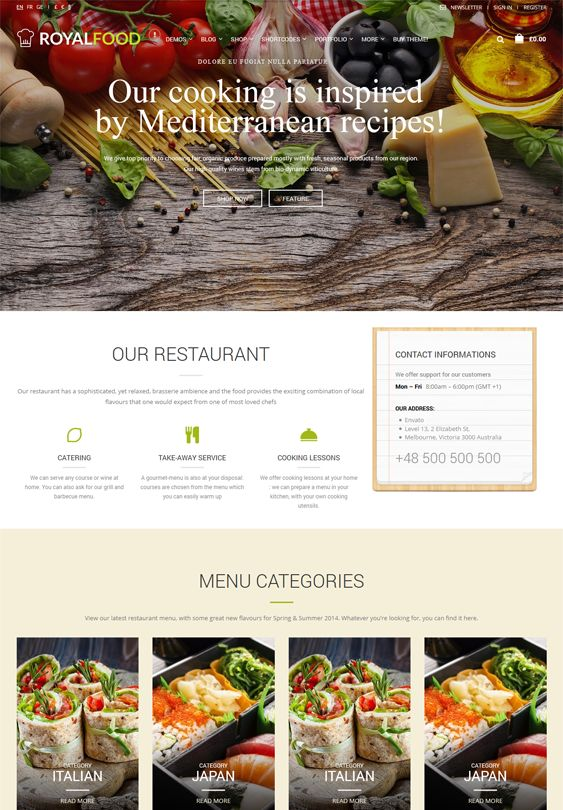 This restaurant theme for WordPress includes a responsive design, WPML and WooCommerce support, 2 premium image sliders, a live chat plugin, Visual Composer, Essential Grid, speed optimization, a Bootstrap framework, and more.