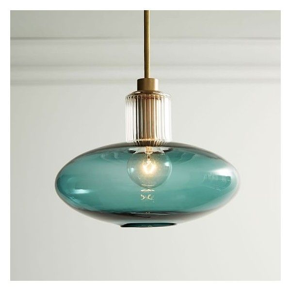 West Elm Sarah Colson Pendant, Antique Brass, Turquoise (£92) ❤ liked on Polyvore featuring home, lighting, ceiling lights, antique brass lamps, antique brass lighting, west elm lamps, turquoise lamp and turquoise lights