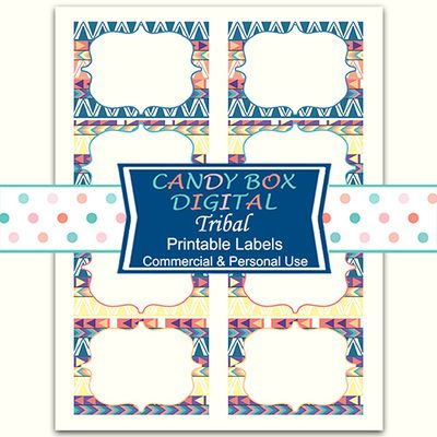 Tribal Ready-To-Print Labels by Candy Box Digital. Great Native American motifs.