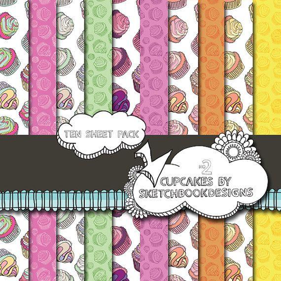 Digital papers  Cute Cupcake Set No. 2  DIY by SketchbookdesignsAu, $3.00