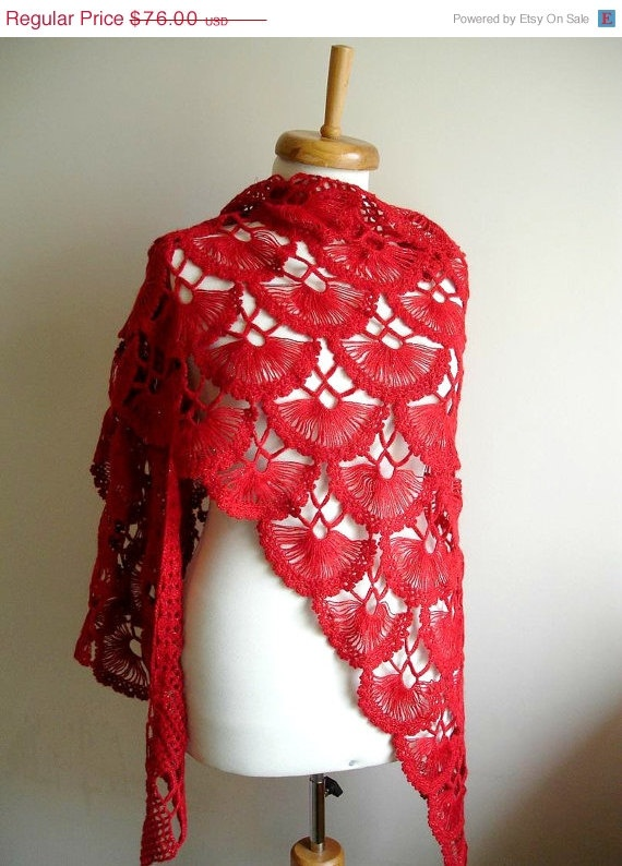 ON SALE http://www.etsy.com/listing/85067105/on-sale-red-shawl-winter-and-spring-2012?nc=1 Red Shawl Winter and Spring  2012   Spring by crochetlab, $64.60: Red Shawl, Spring Fashion, 2012 Spring, Crochet Shawl, Hairpin Lace, Spring 2012