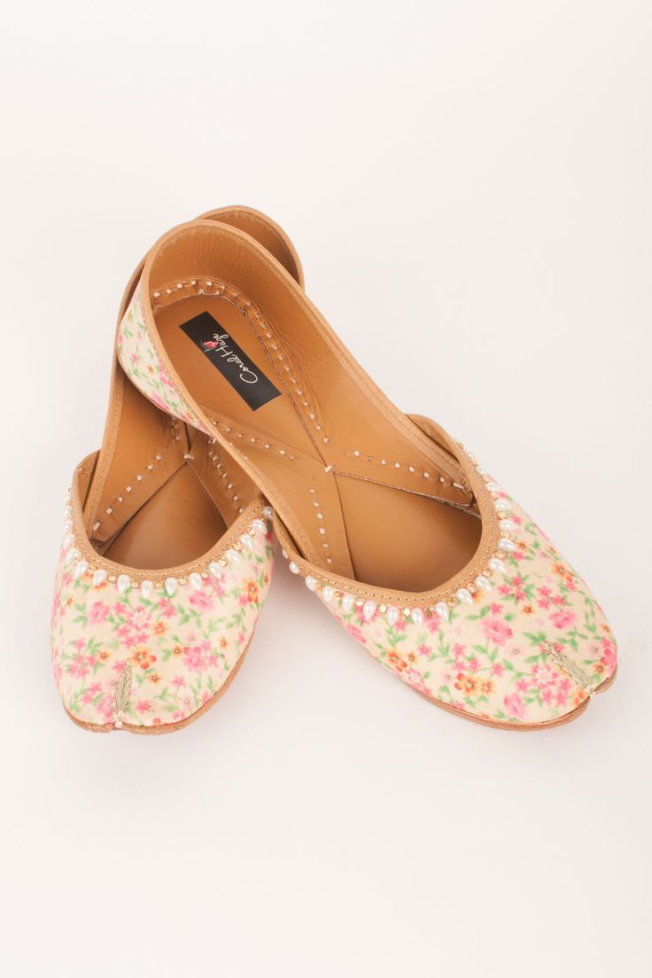 Cream Cherry Blossom Jutti By Coral Haze Shop Now at http://www.onceuponatrunk.com/designers/coral-haze #onceuponatrunk #shopnow #jutti #fashion #style #india #onlineshopping #shopping #footwear #ethnic #accessories #delhi