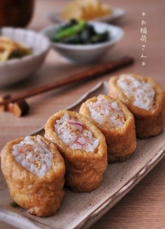 Japanese Food Inarizushi, Fried-Tofu Pouch stuffed with Myoga Ginger-mixed Sushi Rice|茗荷ご飯のお稲荷さん レシピ