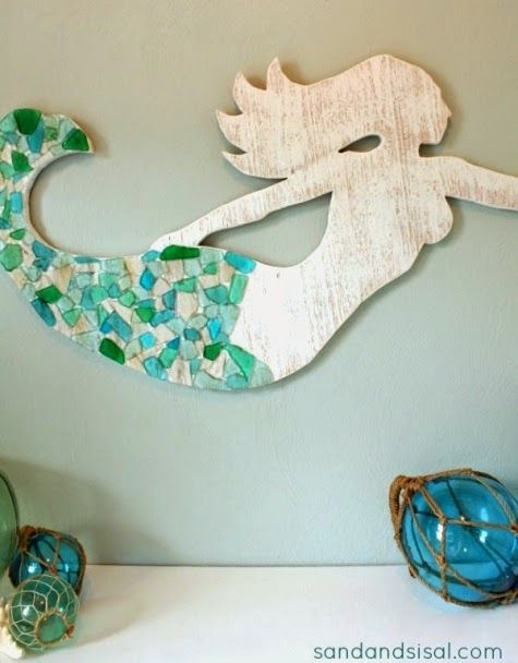Make a Wood Mermaid for Wall Decor + DIY + Inside Decor or Porch + Beachy + Cottage + Florida + Coastal